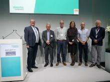 "The organisers and speakers of the ""Daylight by EuroWindoor"" conference (from left to right): Frank Koos, Markus Broich, Prof. Peter Andres, Helle Carlsen Nielsen, Ferdinand Friedrichs and Prof. Marc Fontoynont (photo: EuroWindoor)"