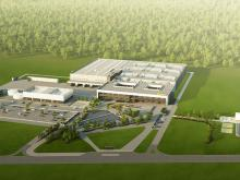 Architectural Rendering of Continental Automotive's new Kaunas, Lithuania factory to produce electronic components including Intelligent Glass Control Systems to control Research Frontiers SPD-SmartGlass.