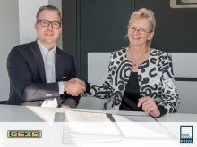 At the GEZE headquarter in Leonberg, Germany, representatives of Priva B.V. and GEZE GmbH signed the letter of intent. Photo: GEZE GmbH