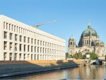 "The rebuilt palace and the Humboldt Forum, will combine art exhibitions, events and city administration, will close a post-War wound. In the picture you can see the east façade, nicknamed the ""Belvedere"" (beautiful view)."