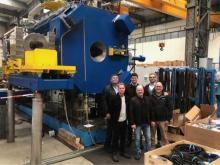 'Derbyshire Investment' – the aluminium press as it will look once assembled in Heage. Pictured: Left to right (back) – Roger Hartshorn, Ross Hartshorn, Sergio Sa, Left to right (front) – Adam Purdy, Steve Purdy, Dave Crowder