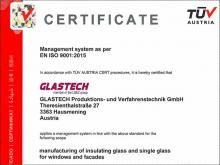 GLASTECH Produktions- und Verfahrenstechnik GmbH is successfully certified according to ISO9001:2015