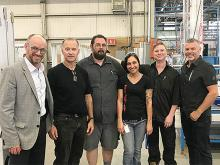Benoit Alain, President and CEO of Atis Group, Raymond Comeau, President of the Laflamme workers union accompanied by union executives Yves Gosselin, Emmanuelle Gagné and Sacha Fournier, and by Éric Gilbert, Director Commercial Sales, Atis Group