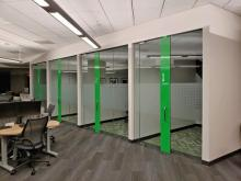 Graboyes Commercial provides specialty glass interior systems for bank office fit-out in Mt. Laurel, NJ
