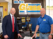 Kansas Secretary of State Inspects Voting Shields at Binswanger Glass