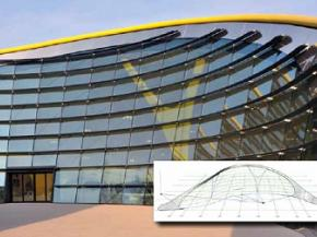 The 78 m (256 feet) long, 45 m (148 feet) wide Enzo Ferrari Museum building has a geometrical shape and high transparency that are inspired by sports car designs