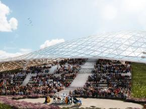 Artist impression of the completed grid shell structure
