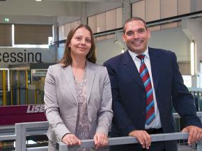 General Managers of Glastronic: Dr. Anita Panowitz (Administration, Production, IT) and Bernhard Scheidl (Purchasing, Sales, Engineering)