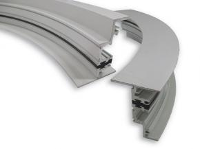 Linetec displays curved extrusions finished with Valspar's Fluropon Effects Nova coatings