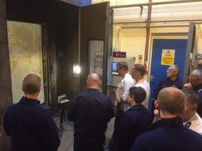 Firefighters get behind the scenes look at a fire test furnace