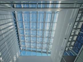 The skylight as viewed from ground floor. The prism louvres appear to be shiny.
