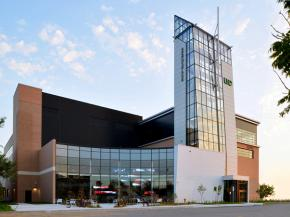 UND's aerospace research facility's glass tower and façade features Tubelite curtainwall and storefront