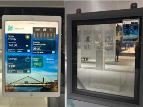 Images – ClearVue IGU with display showing indicative power performance and energy savings (note: displayed numbers for illustration purposes only and may differ in actual use situations)