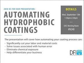Exclusive Automating Hydrophobic Coatings Seminar in Key Spot at GlassBuild