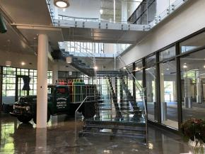 TCP worked with the glass manufacturer and architect to come up with a tread comprised of low-iron glass with an anti-slip sandblast etch, adding functionality while maintaining the design intent.