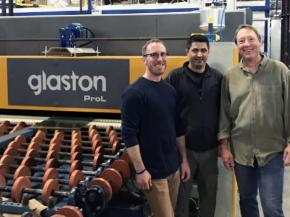 From the left: Rob Carlson, Tristar Glass, Hamed Tabatabaei, Glaston and Tim Kelley, Tristar Glass