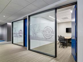 Meeting rooms with angled glass and aluminum partitions (photo © Jeffrey Totaro)