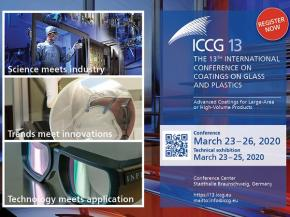 International Conference on Coatings on Glass and Plastics ICCG13 from March 23-26, 2020