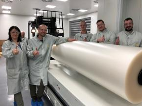 The Trosifol team in Holešov with one of the first SentryGlas® rolls (from the left): Jana Noskova, Jakub Sykora, Rosta Ftacnik, Tomas Horak, Marek Kristek