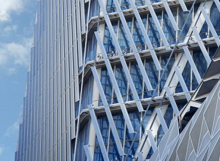Facade detail of the Capital Market Authority Tower, Riyadh. Joint venture between Omrania and HOK.