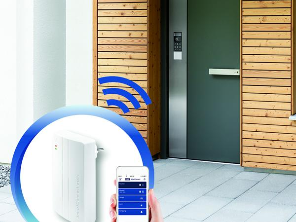 The 'SmartConnect easy' app based access control, one of the innovative packages available as a SmartSecure option.