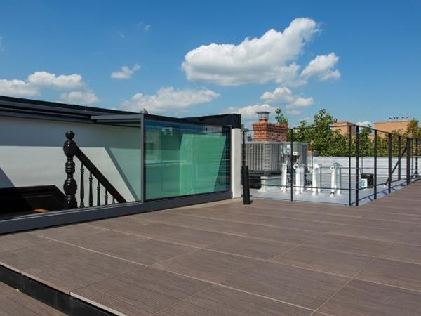 Flat roof top terrace access achieved using box rooflight