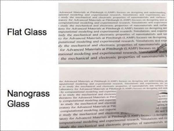 The top image shows that text can be read through normal flat glass, while the glass etched with nanostructure scatters light, making the glass appear opaque. This glass could help boost the performance of solar cells and LEDs.