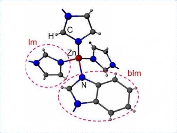 The structure of ZIF-62, ( zinc imidazolate,benzimidazolate) showing the tetrahedral structure in two dimensions.  Image: Ang Qiao / Penn State