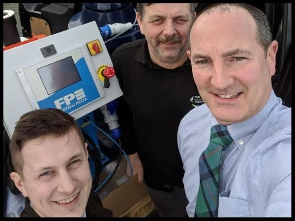 Glass Machinery staff (left to right) Harry, Dave & Mark pictured loading the machine ready to demonstrate to a customer.