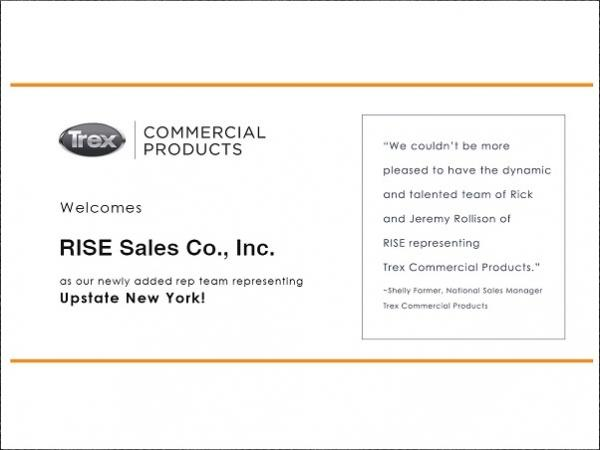 Trex Commercial Products Welcomes RISE Sales Co., Inc. to the Team