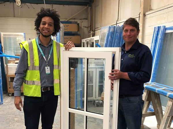 Leon Gayle, Business Development Manager at MACO Door & Window Hardware (UK) Limited (left) and Darren Young, Production Director at Gowercroft Joinery (right) inspecting the design of one of the Hardwick Casement windows.