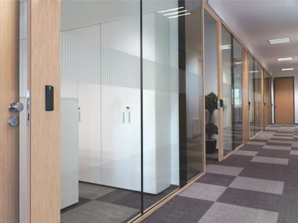 An example of POLFLAM® BR glass used in a modern office – frameless mounting with minimalist wooden strips