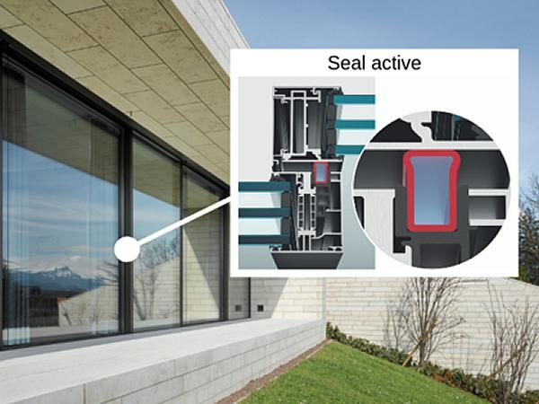 Active seal: By pressing the button, air is generated in the frame and pumped into the seal. The seal presses against the slide profile and closes the gap between slide and fixed frame absolutely tight.