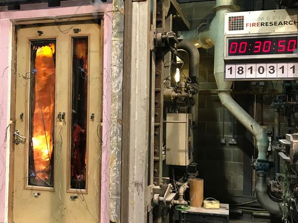 Timber fire door tests see Pyroguard glass excel