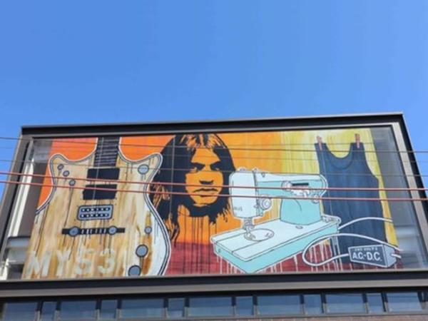 Building art. A glass tribute to the legendary AC/DC.